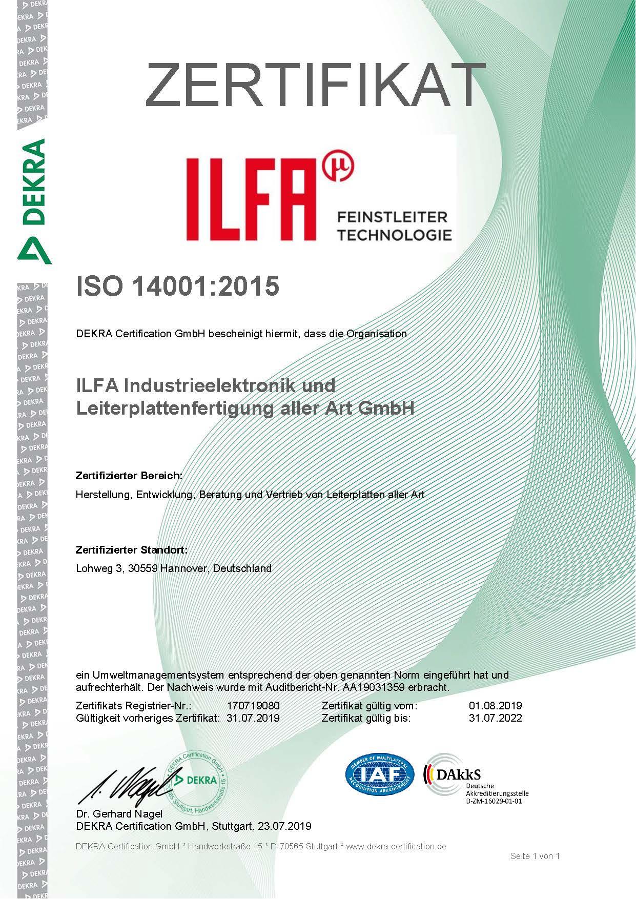 Zertifikat DIN EN ISO 14001:2015